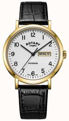 Rotary Correa de cuero negro windsor para hombre. Estuche dorado. GS05303/18