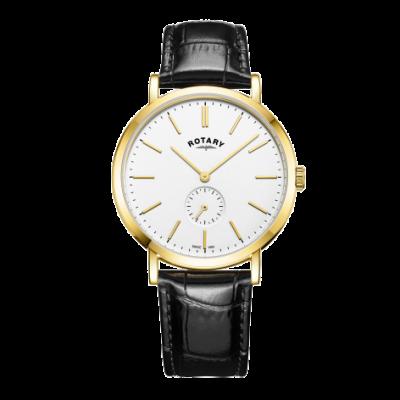 Rotary Reloj de pulsera de cuero para hombre en tono dorado windsor GS05313/02
