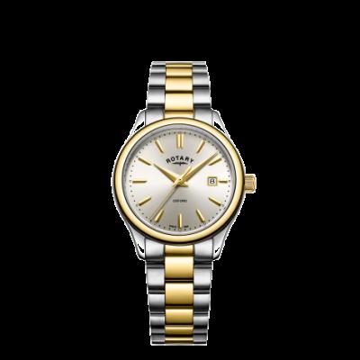 Rotary Reloj oxford bicolor en plata dorada para mujer. LB05093/03