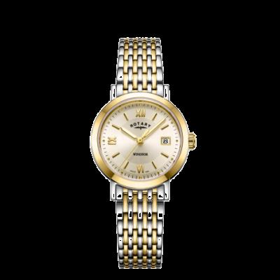 Rotary Reloj de pulsera de dos tonos para mujer windsor y plateado LB05301/09