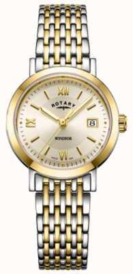 Rotary Reloj de pulsera de oro y plata bicolor de windsor para mujer. LB05301/09