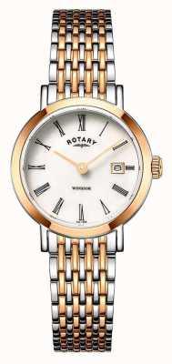 Rotary Reloj de pulsera Windsor para mujer en dos tonos de oro rosa y plata LB05302/01