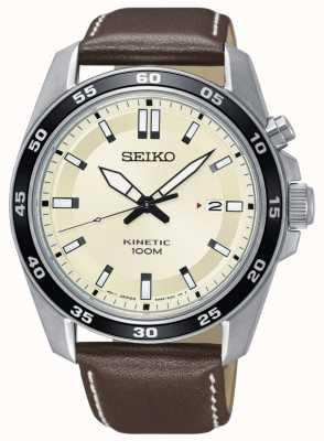 Seiko Reloj cinético para hombre correa de cuero marrón marca de crema SKA787P1