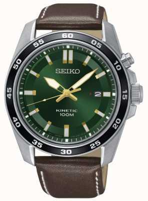 Seiko Reloj cinético para hombre correa de cuero marrón esfera verde SKA791P1