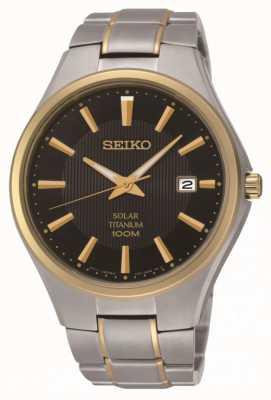 Seiko Reloj de pulsera de titanio solar bicolor para hombre SNE382P9