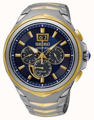 Seiko Coutura dos tonos pulsera de acero inoxidable reloj de línea azul SSC642P1