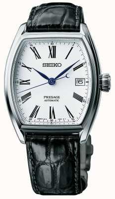 Seiko Mens presage automática correa de reloj de esmalte negro correa SPB049J1