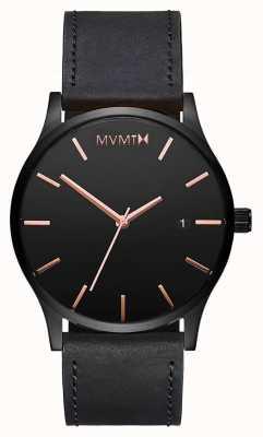 MVMT Cuero negro clásico rosa | correa negra | esfera negra D-MM01-BBRGL