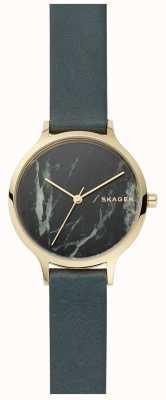 Skagen Reloj anita para mujer con correa de cuero y mármol gris SKW2720