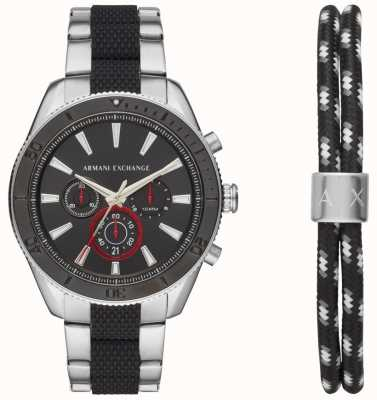 Armani Exchange Mens enzo sport reloj cronógrafo ad pulsera conjunto de regalo AX7106