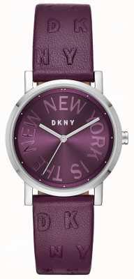 DKNY Reloj de cuero violeta soho púrpura para mujer NY2762