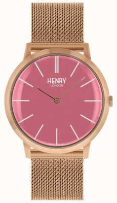 Henry London Pulsera icónica de malla rosa en tono dorado rosa HL40-M-0312
