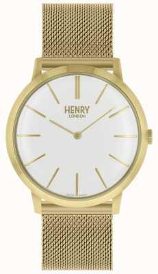 Henry London Pulsera icónica de malla dorada con esfera blanca HL40-M-0250