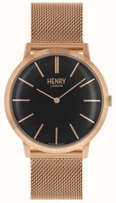 Henry London Pulsera icónica de malla en tono dorado rosa con dial negro HL40-M-0254