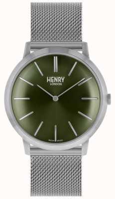 Henry London Icónica correa de malla de plata esfera verde HL40-M-0253