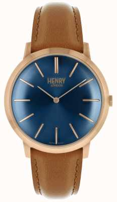 Henry London Estuche icónico azul marino con correa de piel color cuero. HL40-S-0244