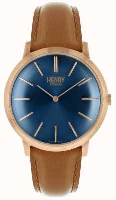 Henry London Icónico azul marino correa de cuero tan color rosa tono caja HL40-S-0244