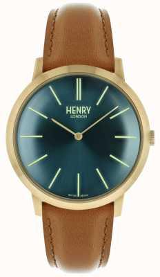 Henry London Icónica correa de cuero marrón marino correa de color dorado HL40-S-0274