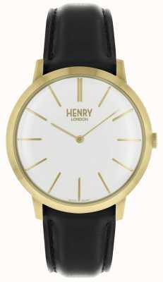 Henry London Icónico esfera blanca correa de cuero negro caja dorada HL40-S-0238