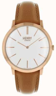 Henry London Estuche icónico con esfera blanca y correa de piel color cuero. HL40-S-0240