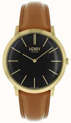 Henry London Estuche icónico de correa dorada de cuero marrón claro HL40-S-0242