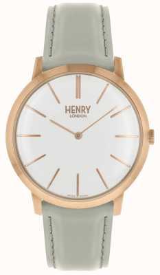 Henry London Icónico blanco dial gris cuero correa rosa tono caso HL40-S-0290
