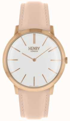 Henry London Icónico blanco esfera rosa correa de cuero color rosa caso HL40-S-0288