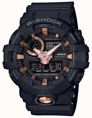 Casio G-shock analógico digital navy caucho rosa reloj de oro GA-710B-1A4ER