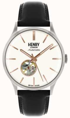 Henry London Correa de cuero negro automático Heritage mens reloj blanco HL42-AS-0279