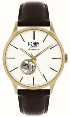 Henry London Reloj de hombre con esfera blanca y correa de piel negra automática Heritage. HL42-AS-0280