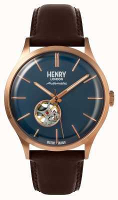 Henry London Reloj para hombre Heritage con correa de cuero marrón automático, esfera azul HL42-AS-0278