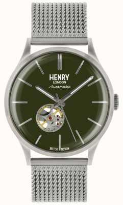 Henry London Reloj de esfera de malla de acero automático plateado automático Heritage mens verde HL42-AM-0283