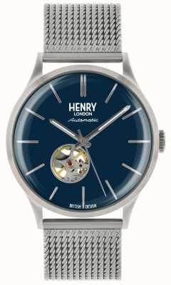 Henry London Reloj de dial de malla de acero automático plateado automático Heritage mens azul HL42-AM-0285