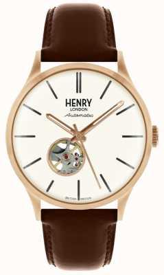 Henry London Correa de cuero marrón automática Heritage mens reloj blanco HL42-AS-0276