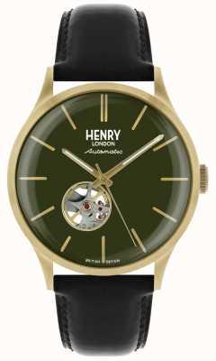 Henry London Heritage mens automática correa de cuero negro esfera verde reloj HL42-AS-0282
