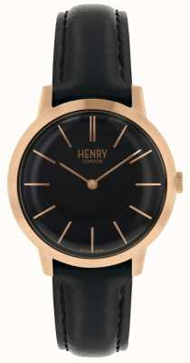 Henry London Reloj negro icónico con correa de cuero negro HL34-S-0218