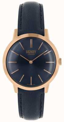 Henry London Icónico reloj para mujer azul marino marcar correa de cuero azul marino HL34-S-0216