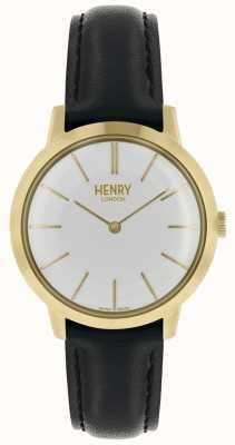 Henry London Iconic reloj para mujer esfera blanca correa de cuero negro HL34-S-0214