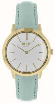 Henry London Iconic reloj para mujer esfera blanca correa de cuero azul HL34-S-0224