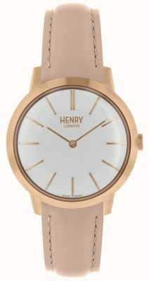 Henry London Reloj icónico para mujer con correa blanca de piel desnuda HL34-S-0222
