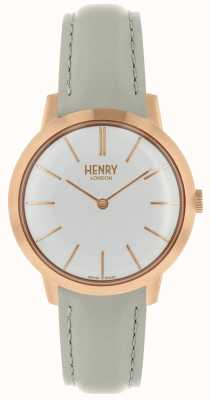 Henry London Reloj icónico para mujer reloj blanco correa de cuero gris HL34-S-0220