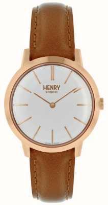 Henry London Reloj icónico para mujer con correa de cuero marrón claro HL34-S-0212