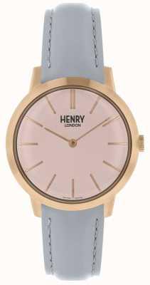Henry London Reloj icónico para mujer con correa de cuero rosa HL34-S-0228