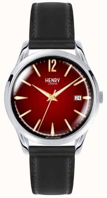 Henry London Chancery unisex correa de cuero negro reloj de línea roja HL39-S-0095