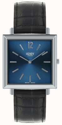 Henry London Heritage mens reloj cuadrado azul esfera correa de cuero negro HL34-QS-0267