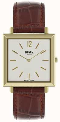 Henry London Heritage mens reloj cuadrado esfera blanca correa de cuero marrón HL34-QS-0268