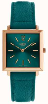 Henry London Heritage womens petite square watch verde HL26-QS-0258