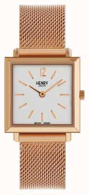 Henry London Reloj cuadrado petite de señora Heritage con malla de oro rosa HL26-QM-0264