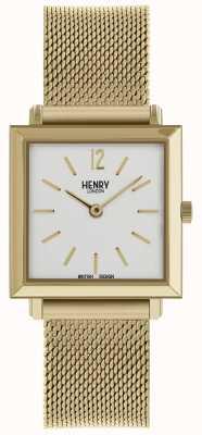 Henry London Hembra Heritage reloj cuadrado petite malla de oro HL26-QM-0266