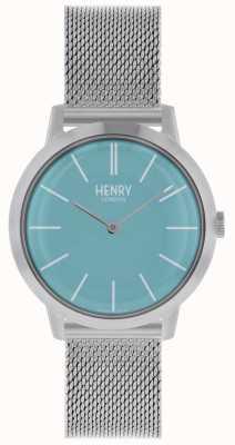 Henry London Icónico reloj para mujer plateado malla azul esfera HL34-M-0273